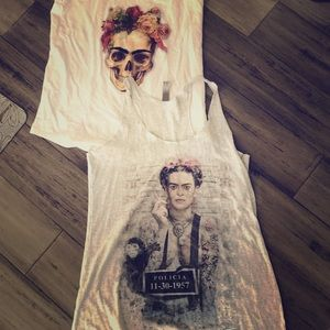 White tank top frida kahlo shirt skull top